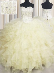 Super Floor Length Ball Gowns Sleeveless Light Yellow Ball Gown Prom Dress Lace Up