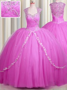 Hot Selling See Through Sweetheart Cap Sleeves Tulle Sweet 16 Quinceanera Dress Beading and Appliques Brush Train Zipper