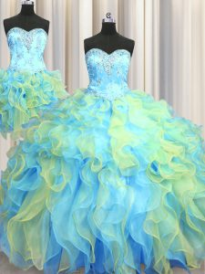 Three Piece Floor Length Multi-color Quince Ball Gowns Sweetheart Sleeveless Lace Up
