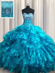 Lovely Sleeveless With Train Beading and Ruffles Lace Up 15 Quinceanera Dress with Teal Brush Train