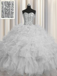 Visible Boning Grey Lace Up Sweetheart Beading and Ruffles and Sequins Quinceanera Gown Tulle Sleeveless