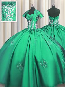Turquoise Lace Up Quince Ball Gowns Beading and Appliques and Ruching Short Sleeves Floor Length