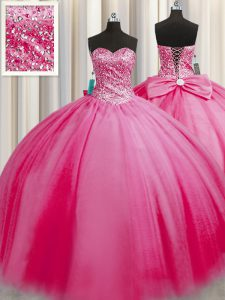 Romantic Big Puffy Sweetheart Sleeveless Tulle Sweet 16 Dresses Beading Lace Up