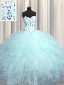 Customized Visible Boning Light Blue Sweetheart Lace Up Beading and Appliques and Ruffles Vestidos de Quinceanera Sleeveless