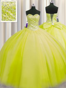 Really Puffy Yellow Green Ball Gowns Tulle Sweetheart Sleeveless Beading Floor Length Lace Up Ball Gown Prom Dress