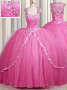 Comfortable Zipper Up Tulle Cap Sleeves With Train Vestidos de Quinceanera Brush Train and Beading and Appliques