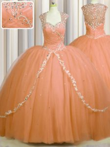 See Through Back Orange Zipper Sweetheart Beading and Appliques Quinceanera Dresses Tulle Cap Sleeves Brush Train