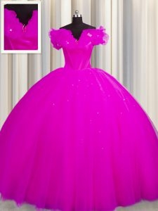 Off The Shoulder Fuchsia Short Sleeves Court Train Ruching With Train Quinceanera Gown