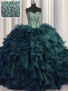 Chic Visible Boning Bling-bling Sweetheart Sleeveless Ball Gown Prom Dress With Brush Train Beading and Ruffles Peacock Green Organza