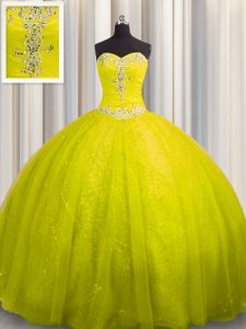 Comfortable Sequined Yellow Sweetheart Lace Up Beading and Appliques Sweet 16 Dress Court Train Sleeveless