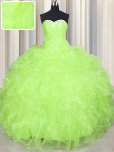Ball Gowns 15 Quinceanera Dress Yellow Green Sweetheart Organza Sleeveless Floor Length Lace Up