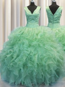 Fine Zipper Up V-neck Sleeveless Zipper 15th Birthday Dress Green Organza
