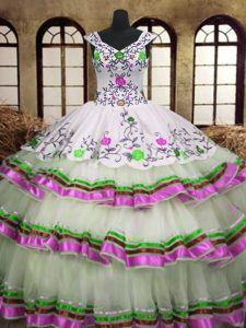 Multi-color A-line V-neck Sleeveless Organza Floor Length Lace Up Embroidery and Ruffled Layers 15th Birthday Dress