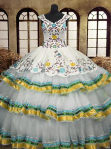 Sleeveless Floor Length Embroidery and Ruffled Layers Lace Up Sweet 16 Dress with Multi-color