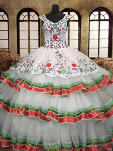 Embroidery and Ruffled Layers Quinceanera Dresses Multi-color Lace Up Sleeveless Floor Length