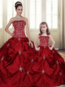 Embroidery Pick Ups Floor Length Ball Gowns Sleeveless Wine Red 15 Quinceanera Dress Lace Up