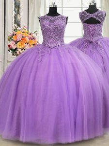 Enchanting See Through Lavender Sleeveless Beading and Appliques Floor Length Ball Gown Prom Dress