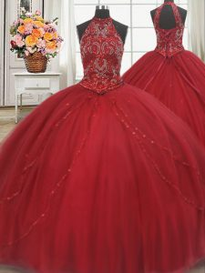 Halter Top Sleeveless Court Train Beading and Appliques Lace Up Sweet 16 Quinceanera Dress