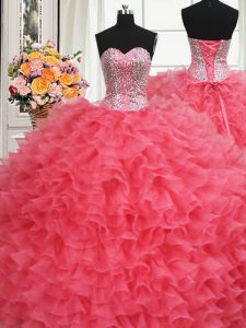 Luxurious Beaded Bodice Coral Red Sweetheart Lace Up Beading and Ruffles Sweet 16 Dress Sleeveless