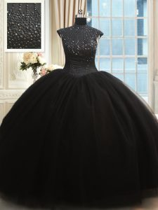 Customized High Neck Beading Quinceanera Dress Black Zipper Cap Sleeves Floor Length