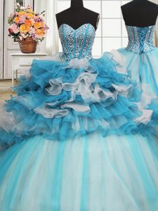 Dazzling Visible Boning Beaded Bodice Blue And White Lace Up Sweet 16 Dresses Beading and Ruffled Layers Sleeveless Floor Length