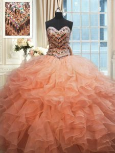 Beaded Bodice Watermelon Red and Peach Sweetheart Lace Up Beading and Ruffles 15th Birthday Dress Sleeveless