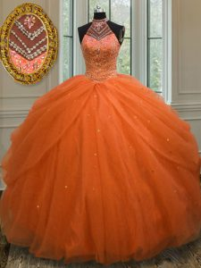 Extravagant Orange Red Quinceanera Dress Military Ball and Sweet 16 and Quinceanera with Beading Halter Top Sleeveless Lace Up