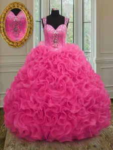 Elegant Straps Sleeveless Zipper Quinceanera Dresses Hot Pink Organza