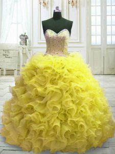 Sleeveless Organza Sweep Train Lace Up Sweet 16 Quinceanera Dress in Yellow with Beading and Ruffles