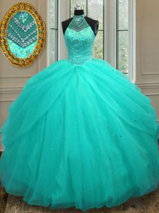 Halter Top Sleeveless Tulle Floor Length Lace Up Quinceanera Dresses in Aqua Blue with Beading