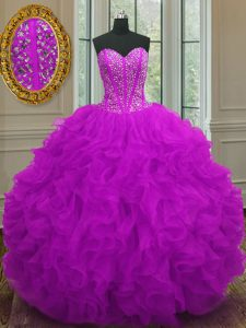 Comfortable Sweetheart Sleeveless Organza Quince Ball Gowns Beading and Ruffles Lace Up
