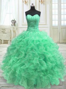 Vintage Green Ball Gowns Organza Sweetheart Sleeveless Beading and Ruffles Floor Length Lace Up 15 Quinceanera Dress