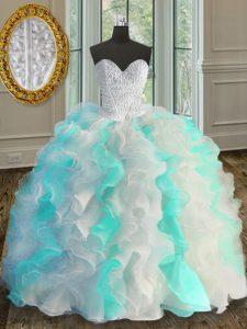 Sweetheart Sleeveless Sweet 16 Dress Floor Length Beading and Ruffles Multi-color Organza