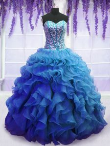Elegant Beading and Ruffles Quinceanera Dress Blue Lace Up Sleeveless Floor Length