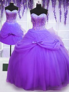 Hot Sale Three Piece Floor Length Purple Quince Ball Gowns Tulle Sleeveless Beading and Bowknot