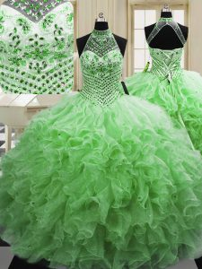 Artistic Halter Top Sleeveless Lace Up Floor Length Beading and Ruffles Sweet 16 Dresses