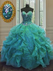 Sophisticated Turquoise Sleeveless Floor Length Beading and Ruffles Lace Up Quinceanera Dress