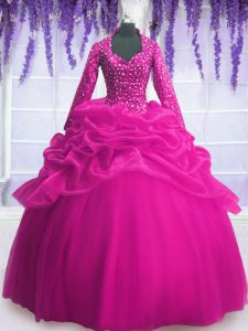 Popular Floor Length Fuchsia Quince Ball Gowns Organza Long Sleeves Sequins and Pick Ups
