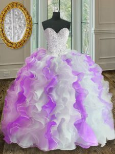 Custom Made White And Purple Organza Lace Up Ball Gown Prom Dress Sleeveless Floor Length Beading and Ruffles