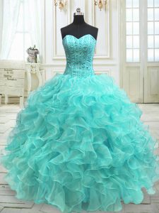 Floor Length Ball Gowns Sleeveless Aqua Blue Ball Gown Prom Dress Lace Up