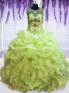Fabulous Scoop Pick Ups Yellow Green Sleeveless Organza Lace Up Ball Gown Prom Dress for Military Ball and Sweet 16 and Quinceanera