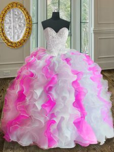 Stylish Floor Length Lace Up Quinceanera Dresses Pink And White for Military Ball and Sweet 16 and Quinceanera with Beading and Ruffles