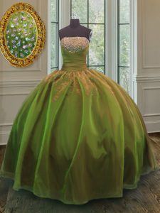 Sequins Floor Length Olive Green Quinceanera Gown Strapless Sleeveless Lace Up