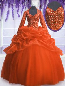 Beautiful Long Sleeves Floor Length Sequins and Pick Ups Zipper Quinceanera Gown with Orange Red