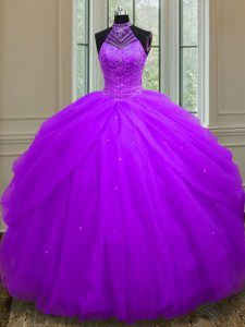 Halter Top Purple Tulle Lace Up Ball Gown Prom Dress Sleeveless Floor Length Beading and Sequins