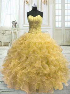 Noble Light Yellow Ball Gowns Organza Sweetheart Sleeveless Beading and Ruffles Floor Length Lace Up Vestidos de Quinceanera