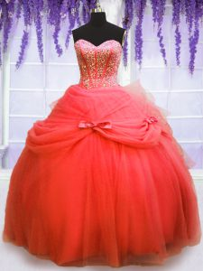 Customized Coral Red Lace Up Sweetheart Beading and Bowknot 15th Birthday Dress Tulle Sleeveless