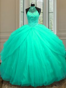 Halter Top Sleeveless Floor Length Beading and Sequins Lace Up Quinceanera Gown with Turquoise