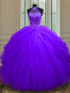 Halter Top Sleeveless Quinceanera Gown Floor Length Beading and Sequins Purple Tulle