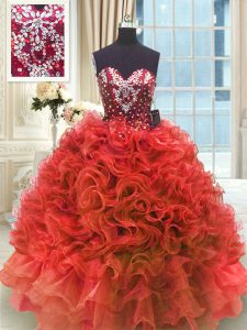 Admirable Sweetheart Sleeveless Quinceanera Dress Floor Length Beading and Ruffles Wine Red Organza